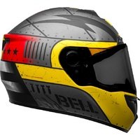 New Bell SRT Motorcycle Helmet SE Devil May Care Matte Grey/Yellow