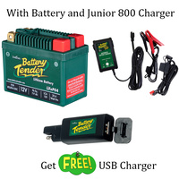 Free Battery Tender USB Charger with 25.6 Wh Li Battery and Junior 800 Charger