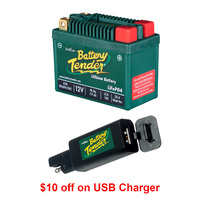 Battery Tender 25.6 Wh 12 V Lithium Battery + USB Charger for Motorcycles