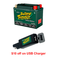Battery Tender 96 Wh 12 V Lithium Battery + USB Charger for Motorcycles