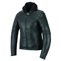 Johnny Reb Women's Hawkebury Removable Hood Motorcycle Leather Jacket - Black