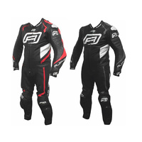 New Rjays Stealth 3 Men's 1 Piece Leather Suit - Black/Fluro Red/White