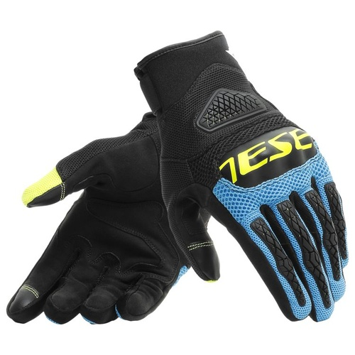 Dainese Bora Motorcycle Gloves - Black/Fire Blue/Fluro Yellow size:Small